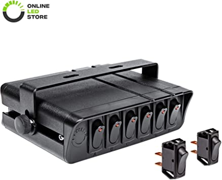 Amazon Com 6 Gang 12v Rocker Switch Box W Momentary Switches 60 Amp Max 12 Awg Wires 12 Volt Dc Spst On Off Rocker Toggle Switch Panel Box For Jeep Auto Automotive Lights Car Marine Boat Truck
