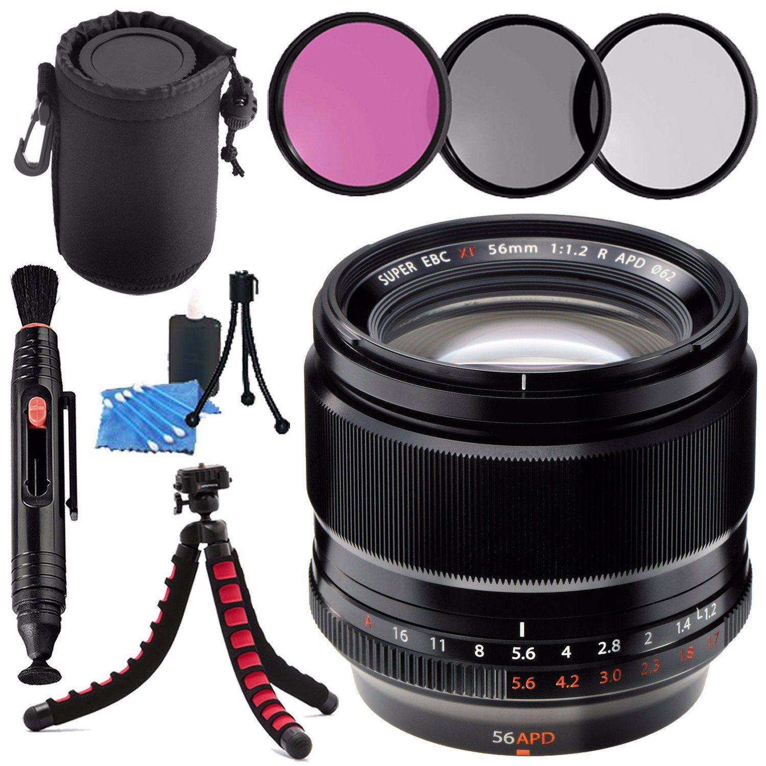 Fujifilm Xf 56mm F 12 R Apd Lens 16443058 62mm 3 Fujinon Xf56mm Piece Filter Kit Cleaning Pouch Pen Cleaner Flexible Tripod