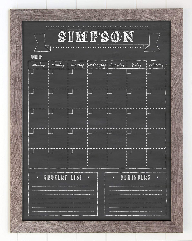 Framed Wall Calendar, Custom Dry Erase calendar, 18