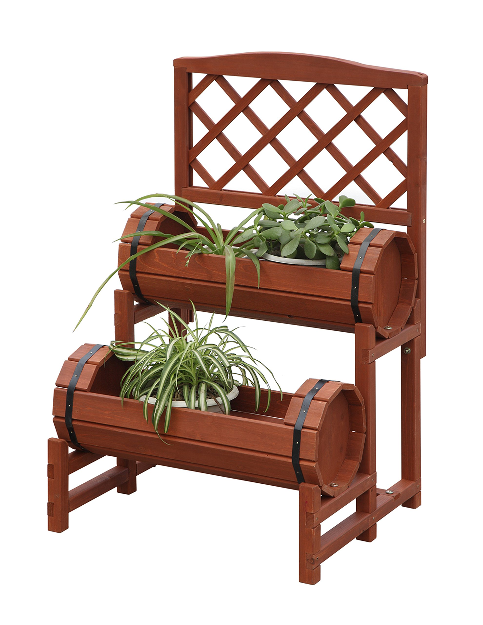 Cascading Garden Planter 2 Tier Plant Stand Raised Garden Bed Wood Barrel  Design