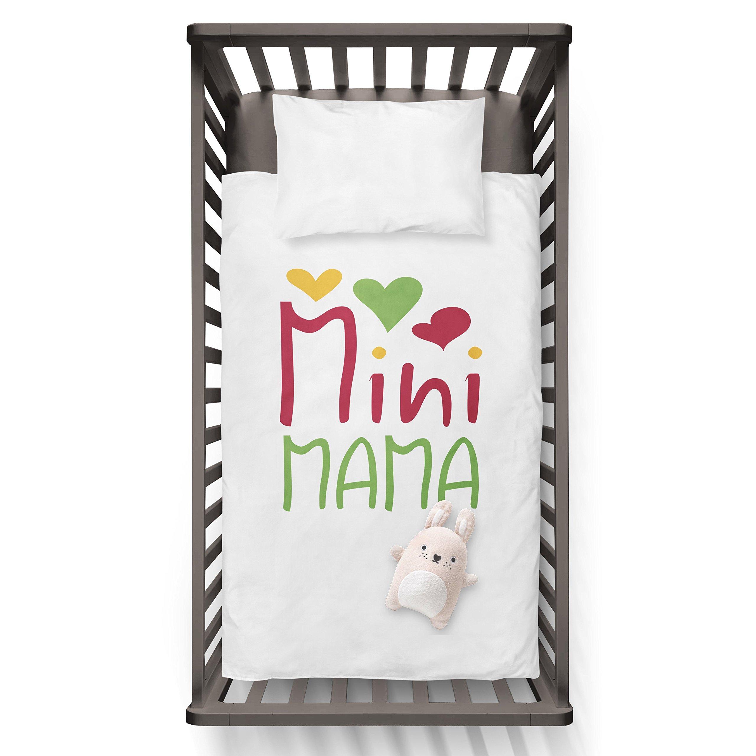 Mini MAMA Funny Humor Hip Baby Duvet /Pillow set,Toddler Duvet,Oeko-Tex,Personalized duvet and pillow,Oraganic,gift