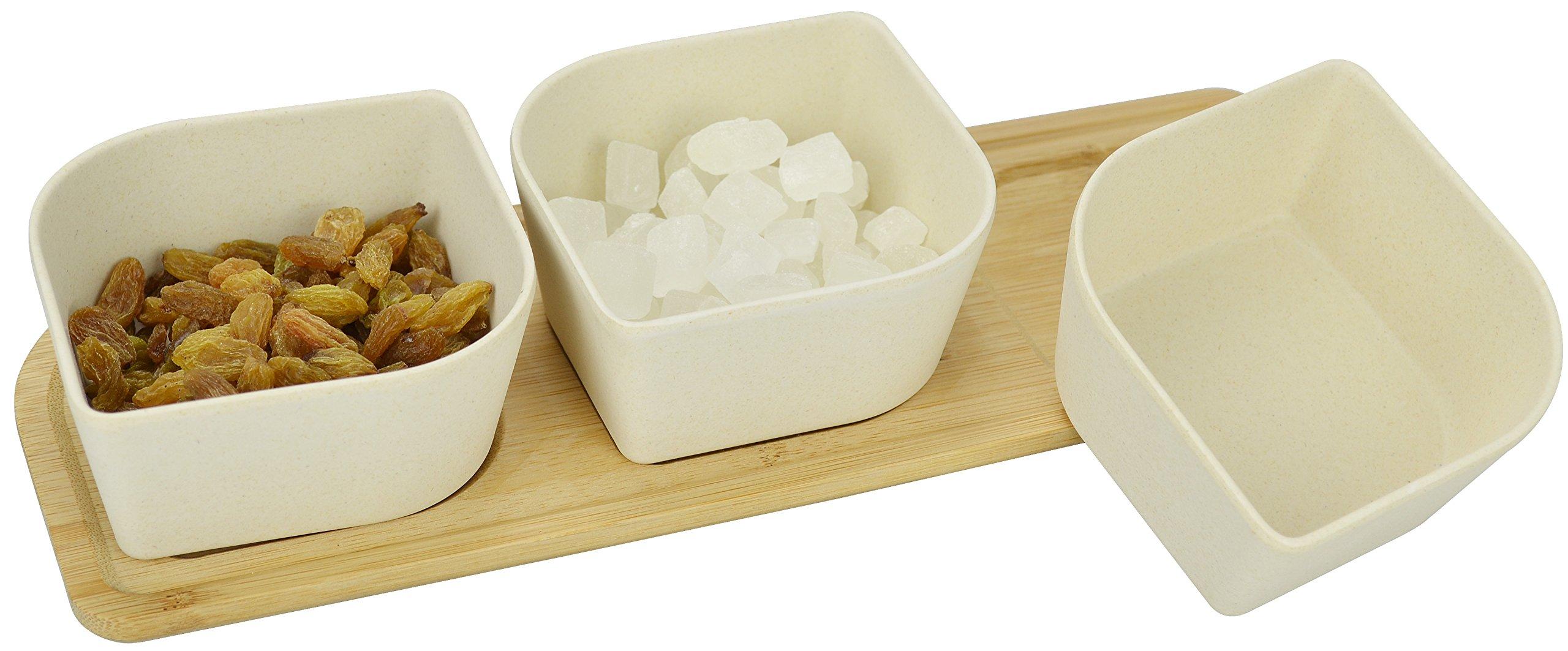 Surpahs Bamboo Fiber Snacks Serving Bowl Set w/ Bamboo Tray