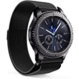 EloBeth for Samsung Gear S3 Milanese Magnetic Loop Stainless Steel Mesh Strap for Gear S3 Classic Bands/Gear S3 Frontier Bands/Pebble Watch Band with Unique Magnet Lock (Black 2)