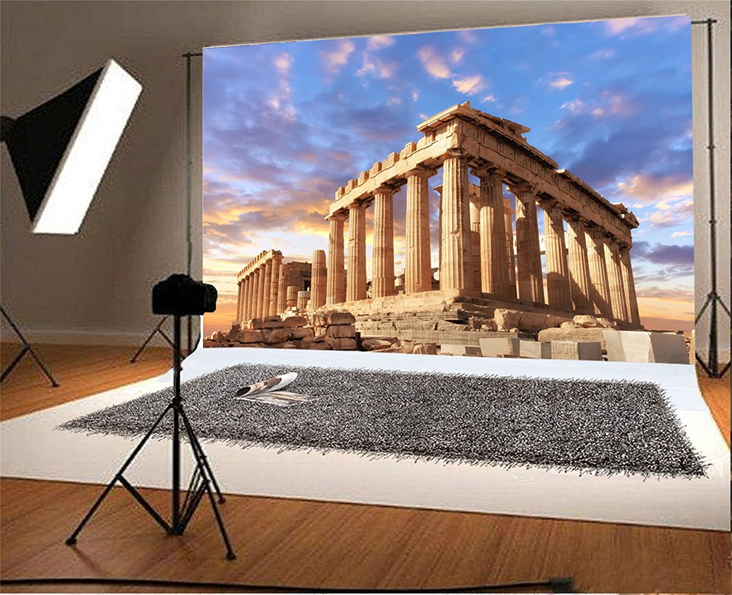 AOFOTO 15x8ft Greece Athens Acropolis Background for Photography Ancient Greek Architecture Pillar Stone Historical Parthenon Temple Backdrop Travel Holiday Photo Shoot Props Poster Banner Vinyl