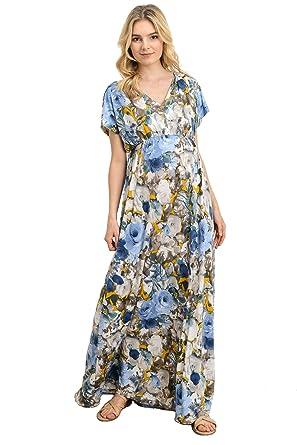 df08099f5be Hello MIZ Women s Floral V-Neck Empire Waist Maxi Maternity Dress - Made In  USA