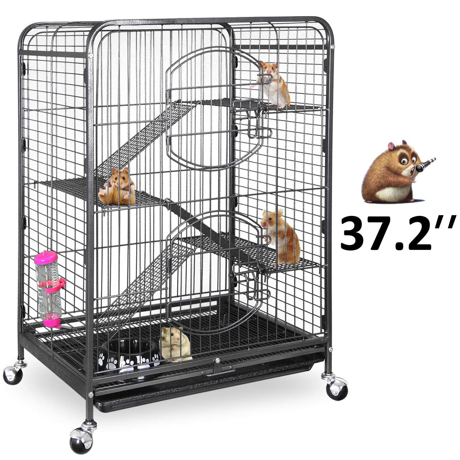 SUPER DEAL 37.2'' Ferret Cage Chinchilla Sugar Glider Guinea Pig Small Animal Cage - 4 Tiers - 3 Ladders - 2 Front Doors - Food Bowl - Water Bottle - Slide Out Trays - Swivel Casters (2019 Pro) by SUPER DEAL
