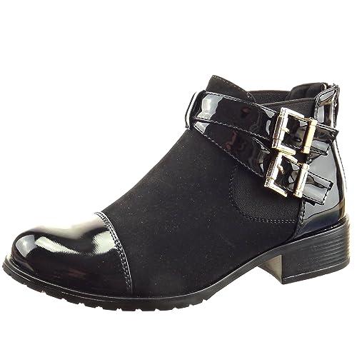Sopily - Zapatillas de Moda Botines chelsea boots A medio muslo mujer brillantes multi-correa Talón Tacón ancho 3 CM - Negro FRF-4-F531 T 41: Amazon.es: ...