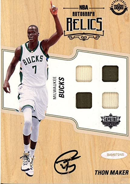 Thon Maker Milwaukee Bucks Autographed Relics Game Used Supreme Hard Court  - Upper Deck - Fanatics e66c055d4