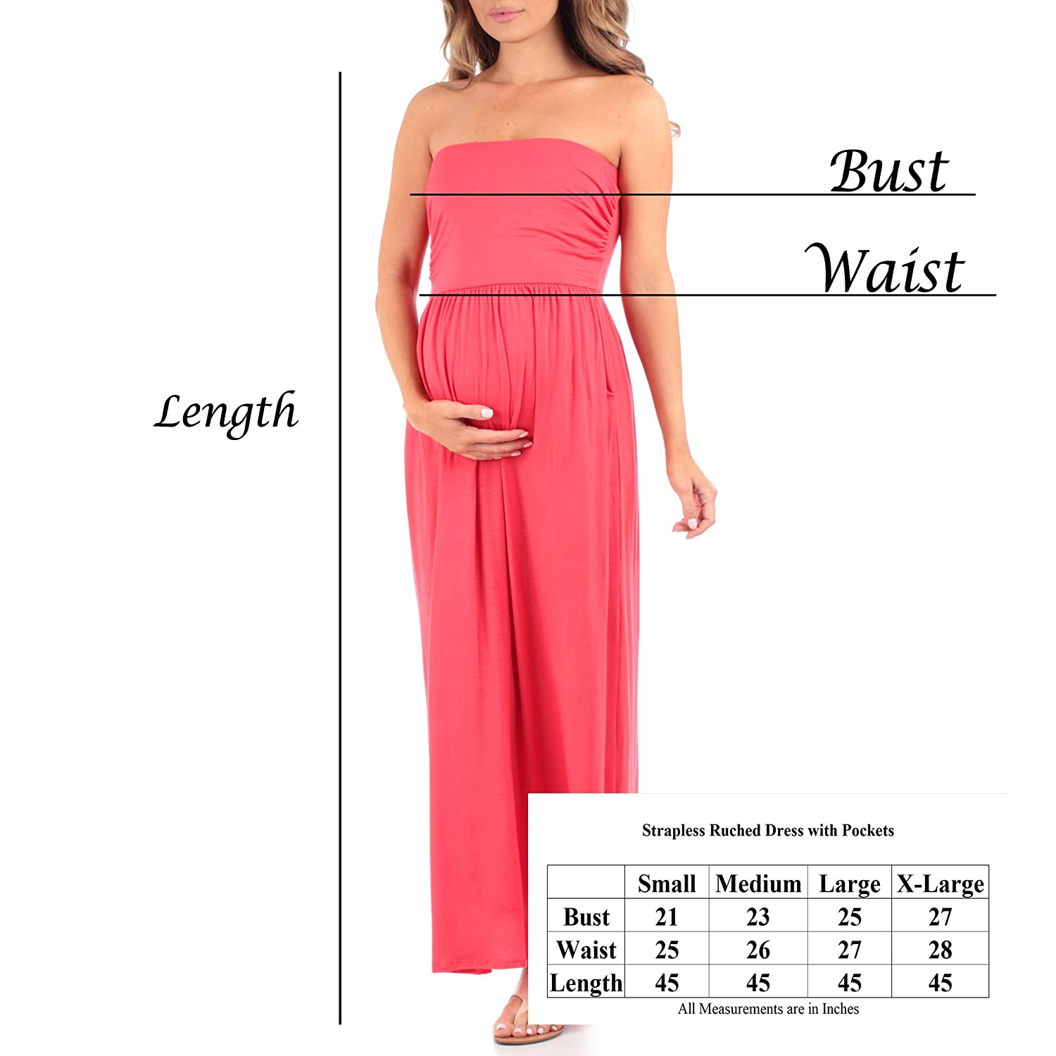 46657d6d00633 Womens Strapless Ruched Maxi Dress With Pockets