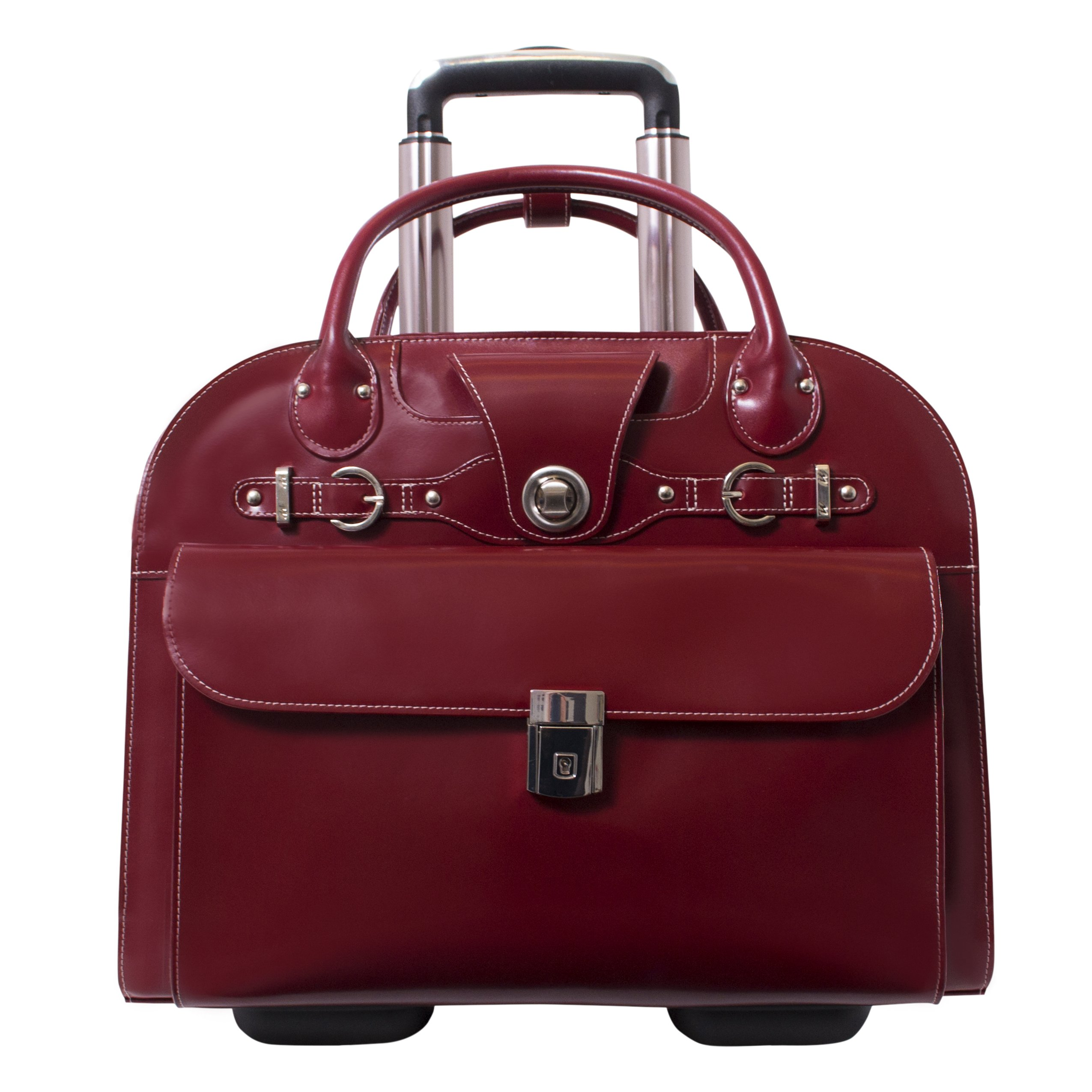 McKleinUSA Edgebrook [Personalized Initials Embossing] 15.4'' Leather Wheeled Ladies' Laptop Briefcase in Red by McKlein (Image #3)