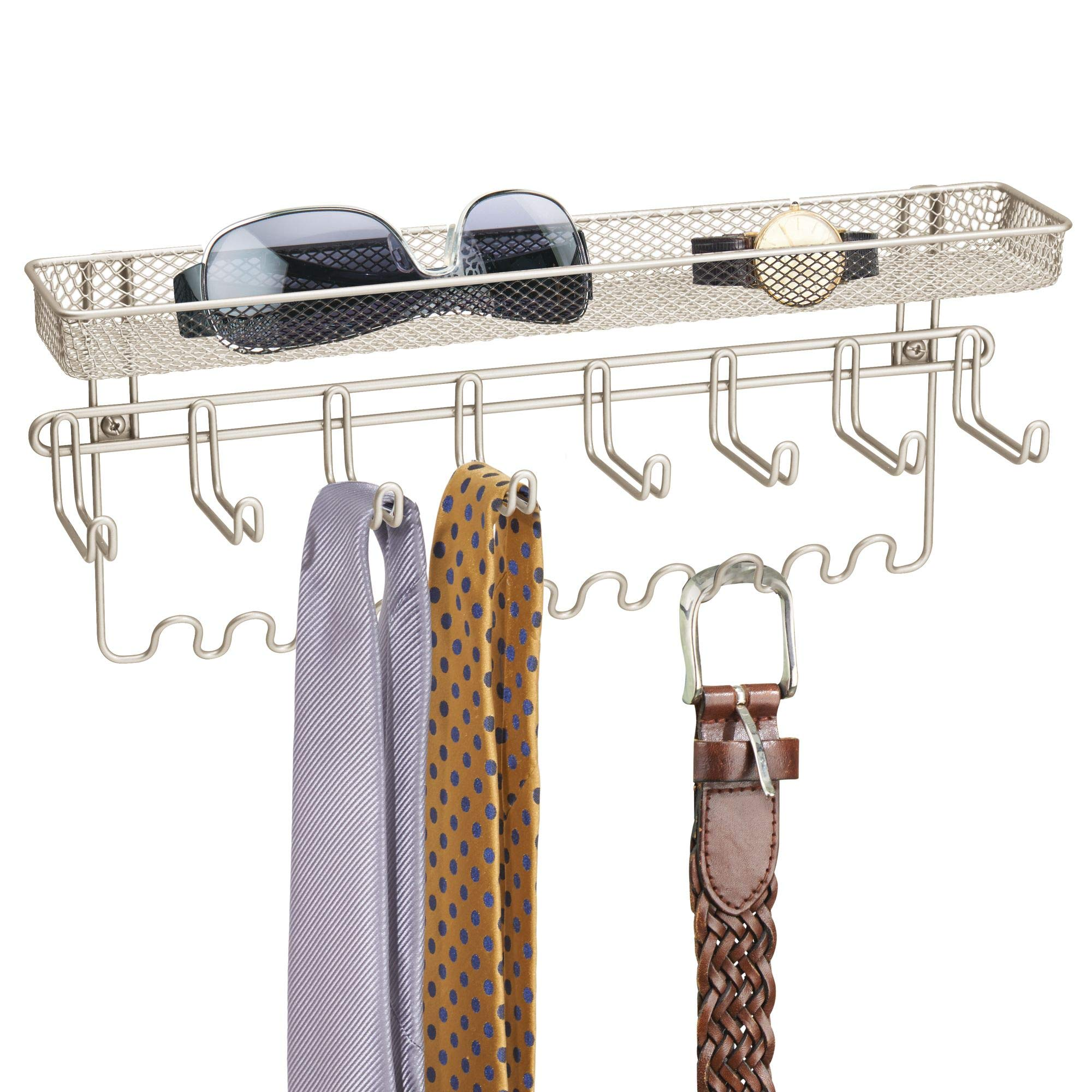 mDesign Closet Wall Mount Jewelry Accessory Organizer and Storage Center for Necklaces, Bracelets, Rings, Earrings, Sunglasses, Wallets - 8 Large Hooks / 11 Small Hooks / 1 Basket, Pack of 2, Satin by mDesign (Image #4)
