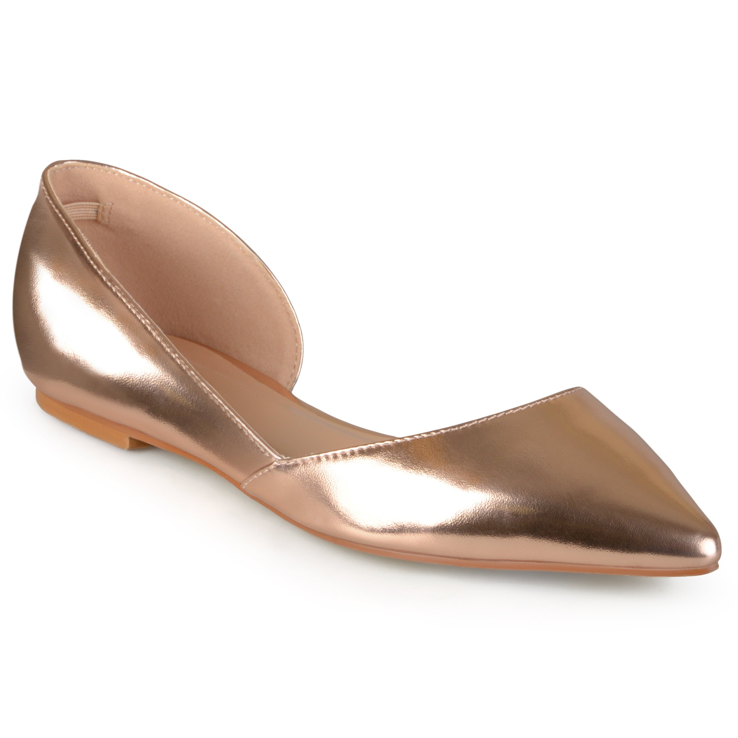 Journee Collection Womens Pointed Toe Cut-Out Flats Rose Gold, 8 Regular US