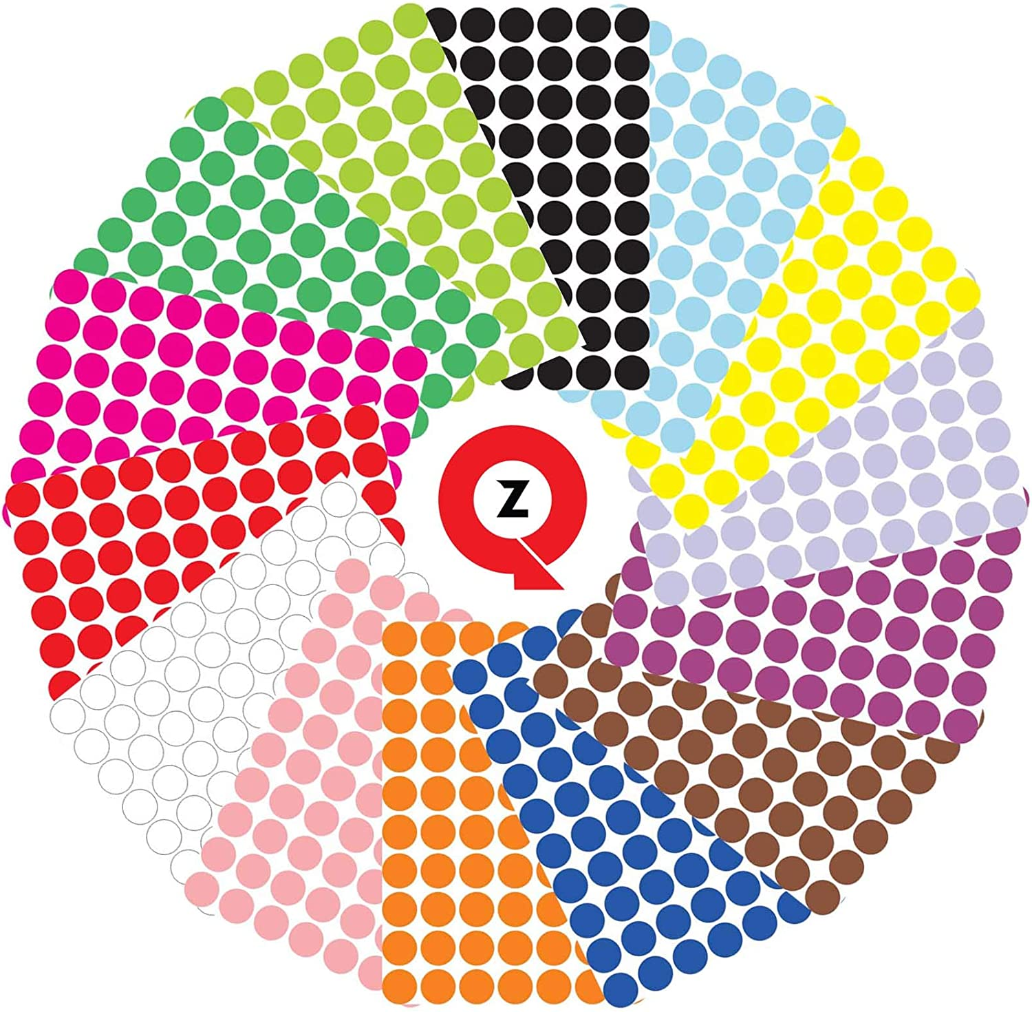 Quzi Dot Stickers Pack of 3920 Sheets of Colored Sticky Round Stickers & Printable Circle Labels for Labeling Decorating Coding