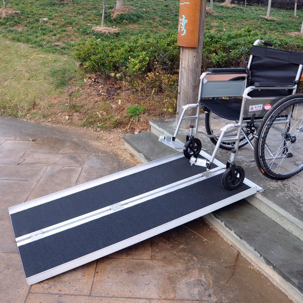 Rampa silla ruedas 244cm 270kg doble plegable aluminio coche veh/ículo superficie antideslizante
