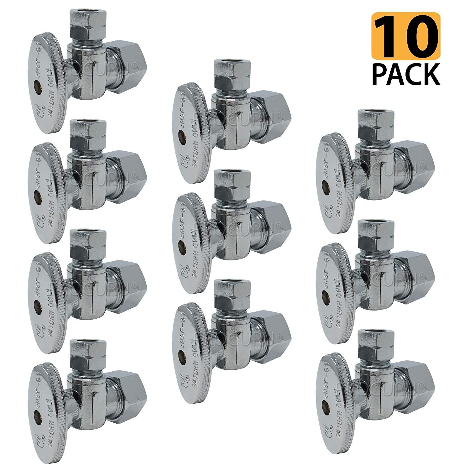 "[10-Pack] PROCURU Angle Stop Valve 1/2"" Nominal (5/8"" OD) Inlet x 3/8"" OD Comp Outlet, 1/4-Turn Lead Free (10-Pack)"