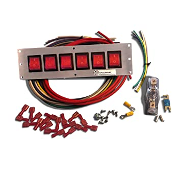 mgi speedware 6 gang lighted rocker panel switch board and wiring kit for  marine boat and race car (red): amazon ca: automotive