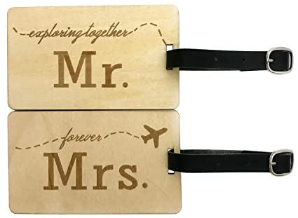 a9d675f2a7a4 Mr Mrs Wooden Luggage Tags Travel Cute Couples Gift - 2 Pack