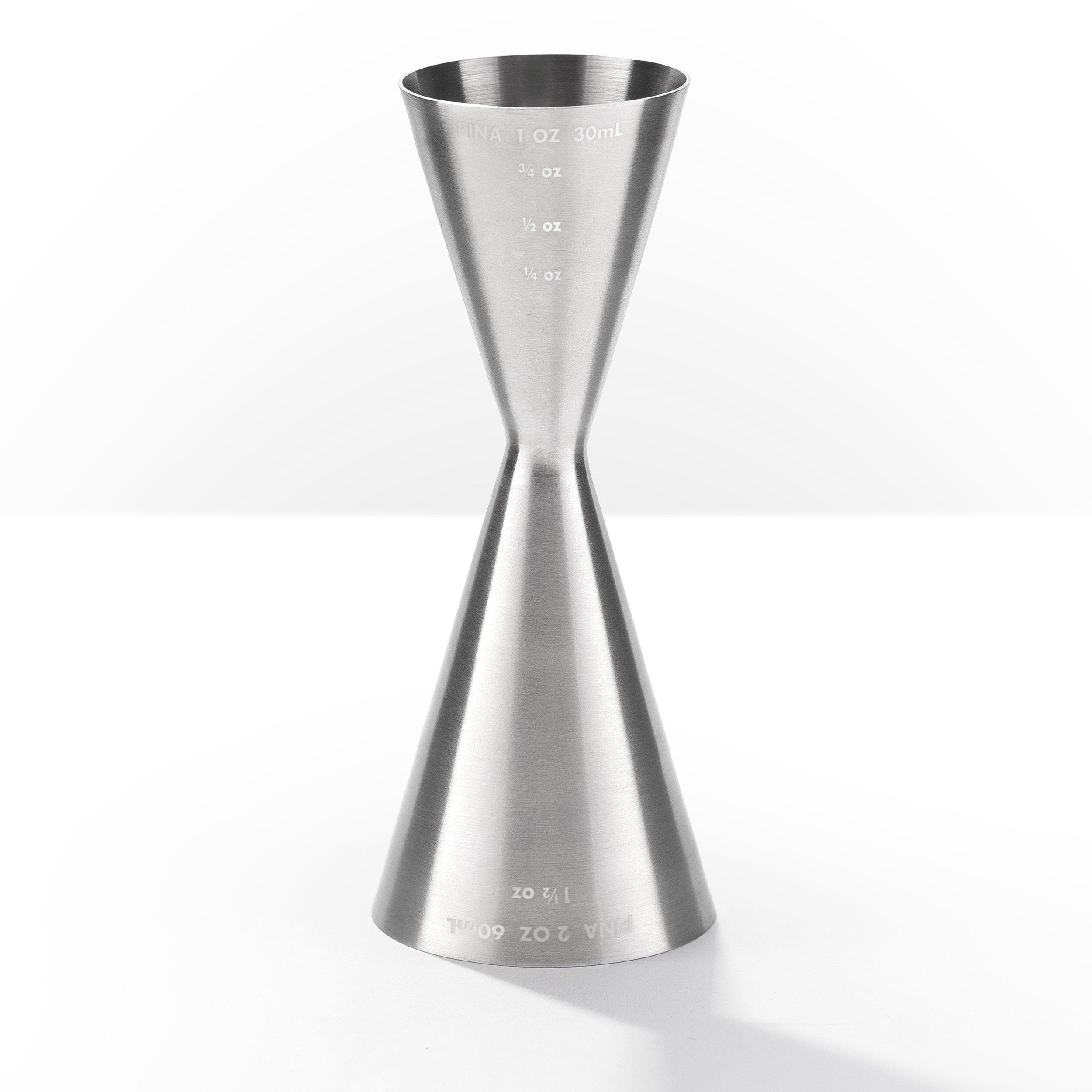 Piña Barware Slim Stainless Steel Commercial 2oz. / 1oz. Slim Style Measuring Jigger Bar Tool