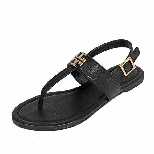 Tory Burch Laura SANDAL Flats Thong Tumbled Leather TB Logo (6, Black Gold)