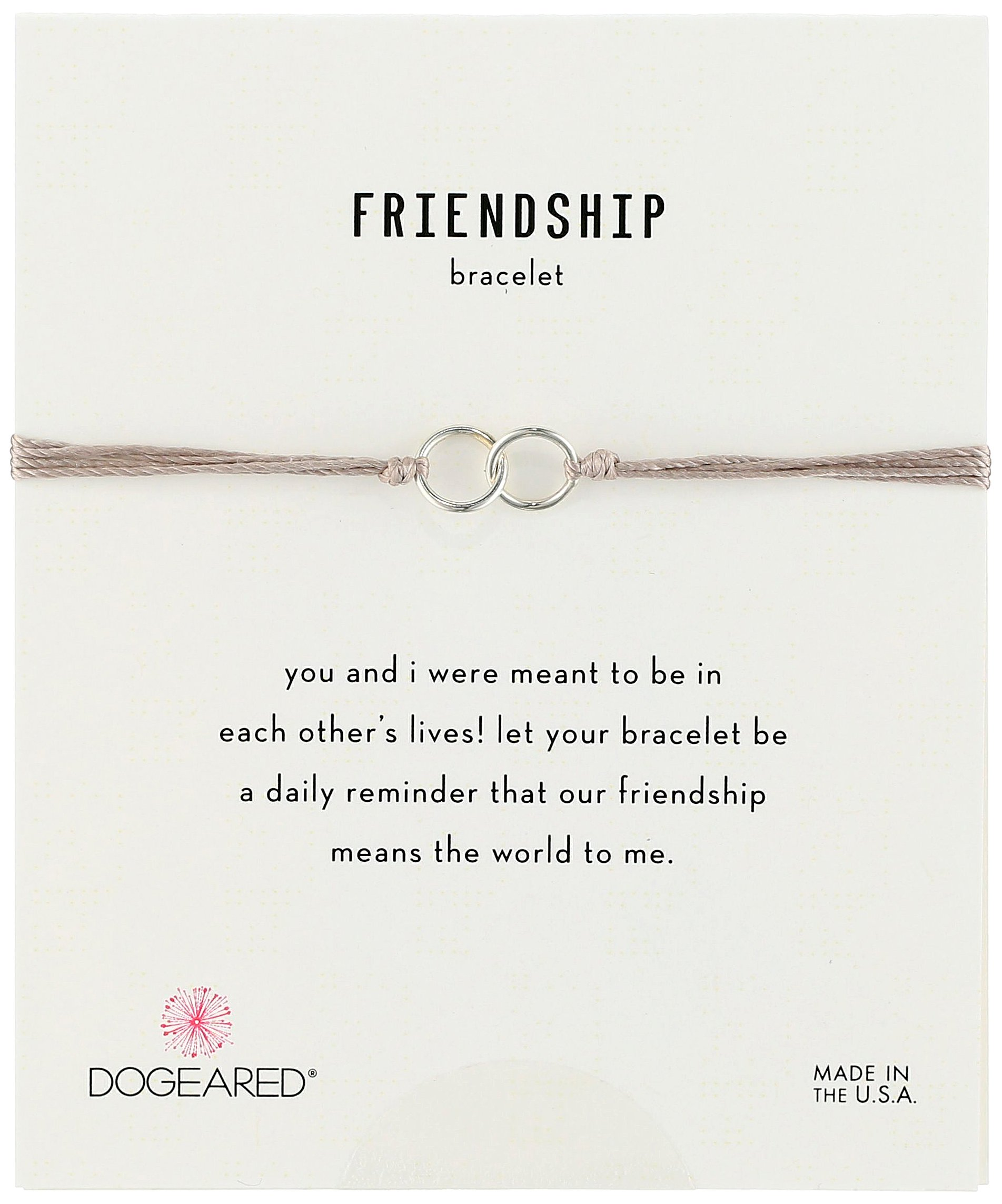Dogeared Friendship Sterling Silver Double Link Taupe Silk Adjustable Closure Bracelet