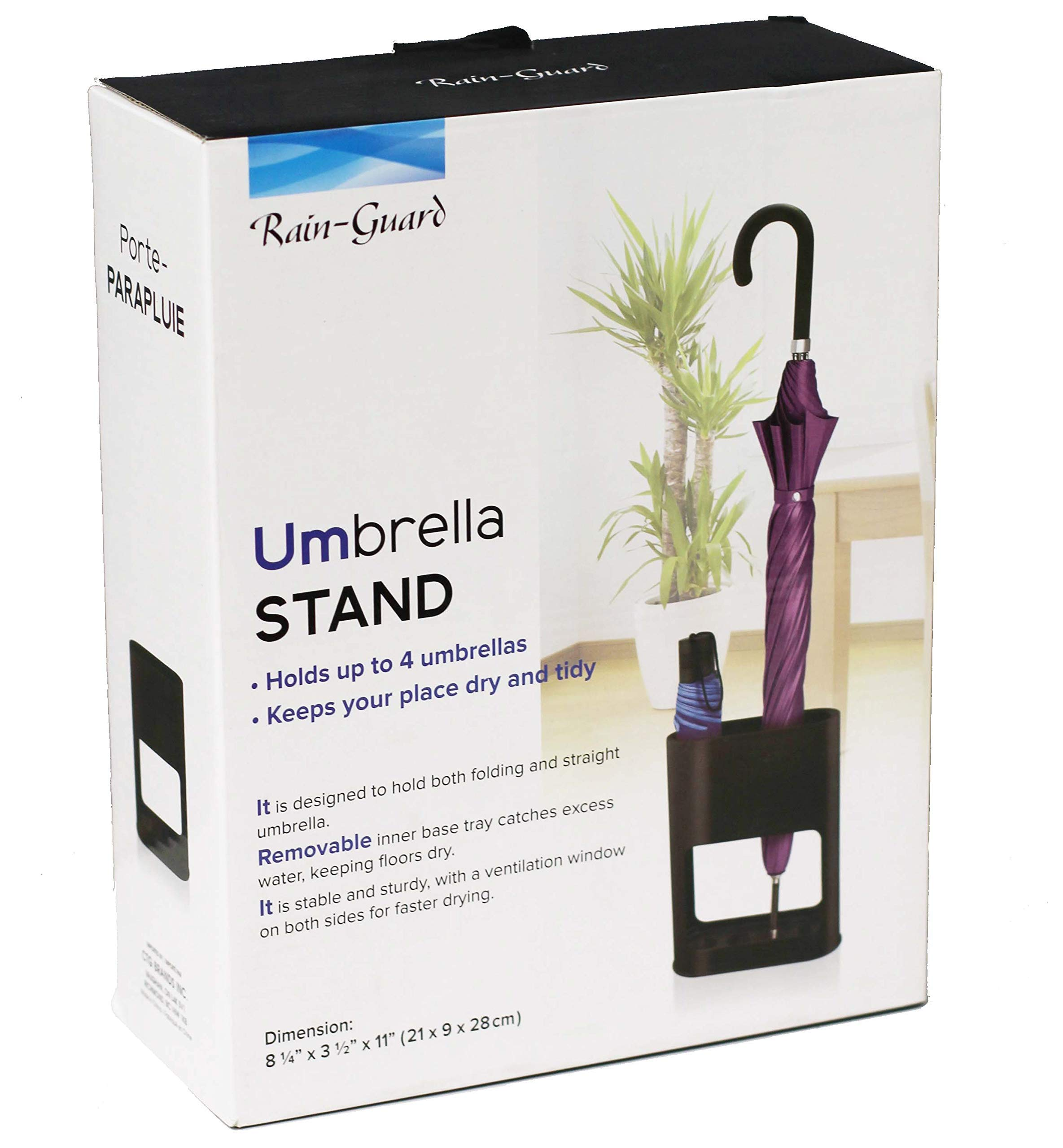 Umbrella Stand Rack - Protects Your Floors and Keeps You Organized - Freestanding Umbrella Holder with Removable Drain Tray - for Canes, Walking Sticks - 21x9x28cm (Black)