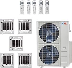 COOPER AND HUNTER Five 5 Zone Ductless Mini Split Air Conditioner Ceiling Cassette Heat Pump 9k 9k 9k 9k 18k