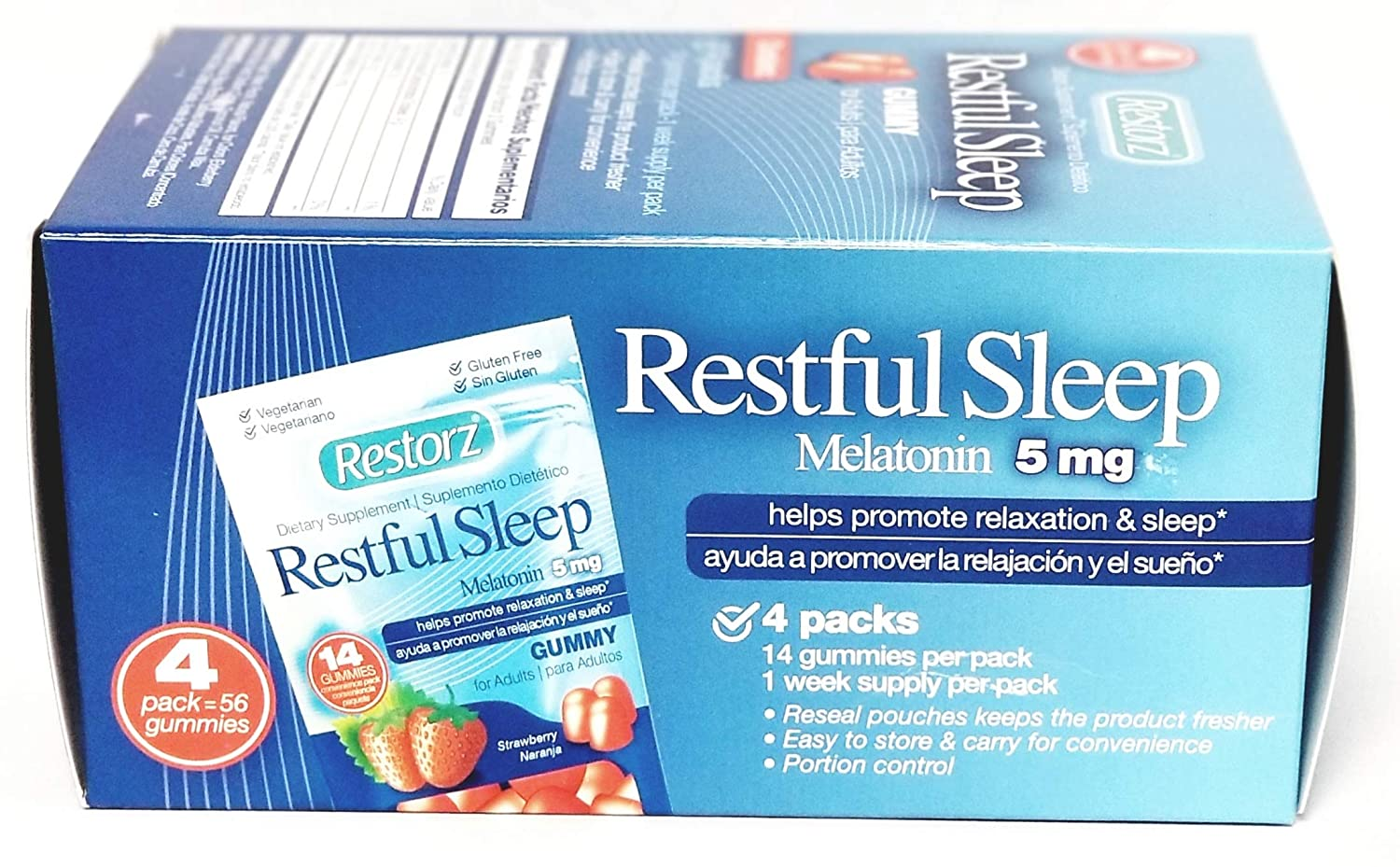 Amazon.com: Restorz Restful Sleep Gummies with 5mg Melatonin Promotes Relaxation and Supports a Healthy Sleep Cycle, Strawberry - 168 Gummies: Health ...