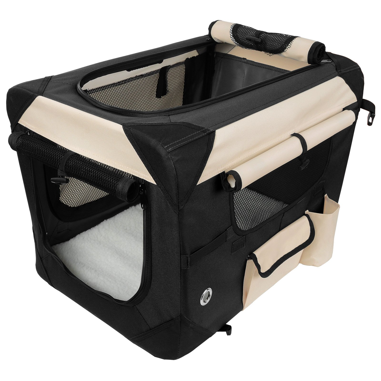WOLTU Premium Soft Sided Pet Carrier Foldable Pet Travel Crate, Black+Beige, PCS01blkS4-a by WOLTU (Image #3)
