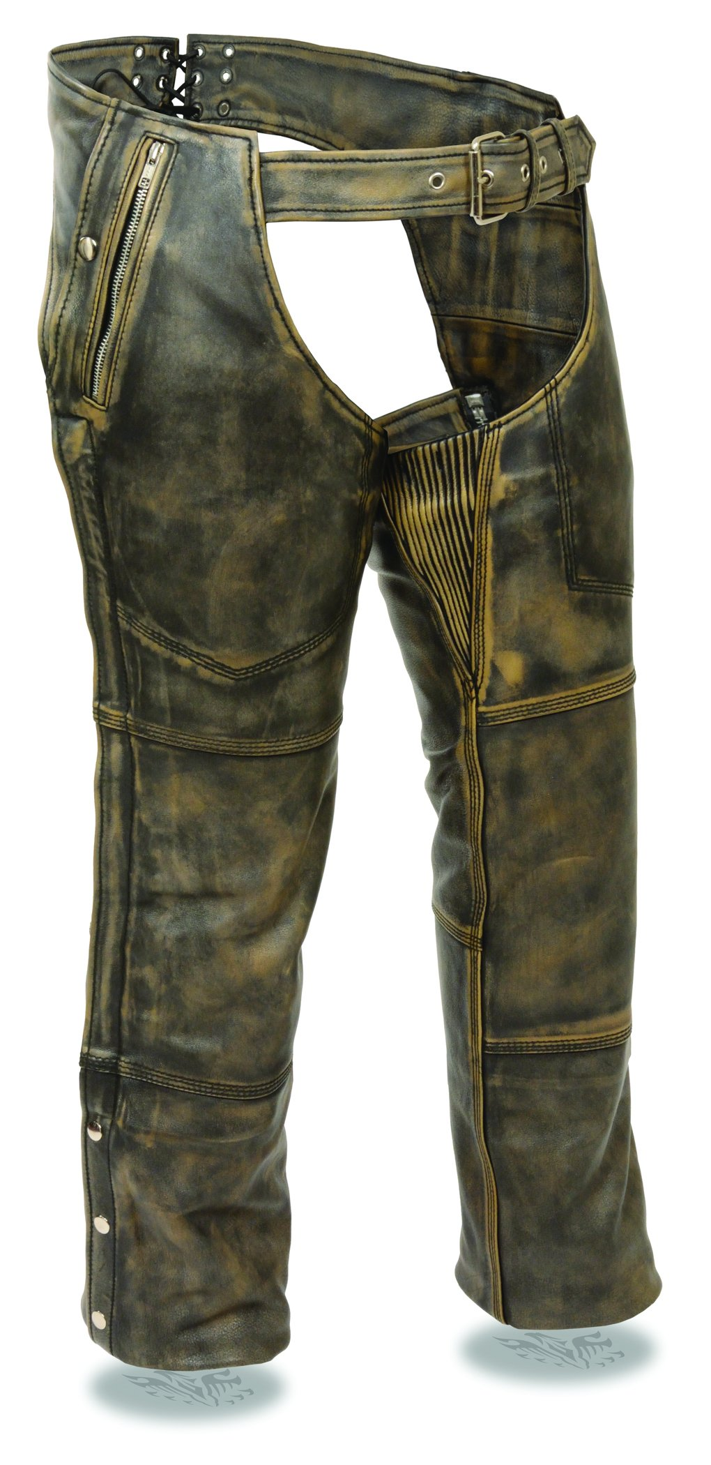 Milwaukee Men's Distressed 4 Pocket Thermal Liner Chaps (Brown, XX-Small)