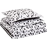 AmazonBasics Easy-Wash Microfiber Kid's Comforter and Pillow Sham Set - Full or Queen, Black Shadow Dots
