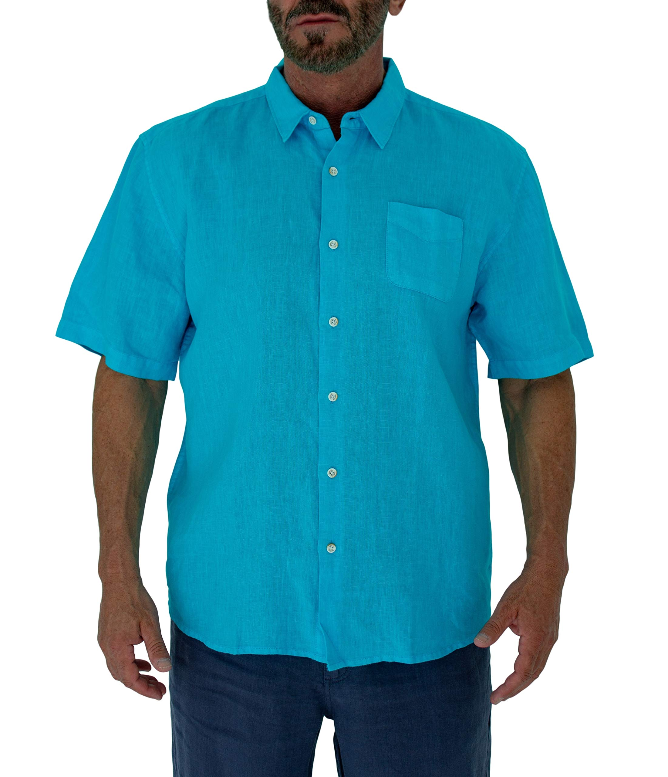 Short Fin Short Sleeve Button Down Linen Shirt (Size X Large, Neon Blue L8040L) by Short Fin (Image #1)