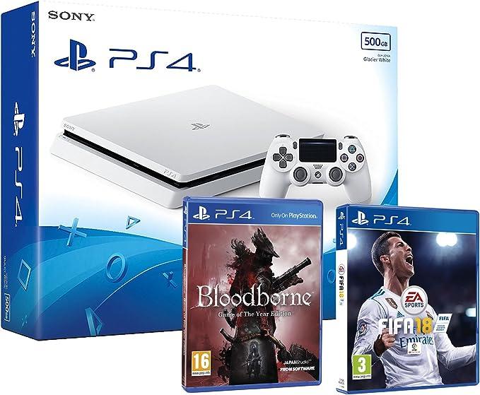 PS4 Slim 500Gb Blanca Playstation 4 Consola - Pack 2 Juegos - FIFA 18 + Bloodborne GOTY: Amazon.es: Videojuegos