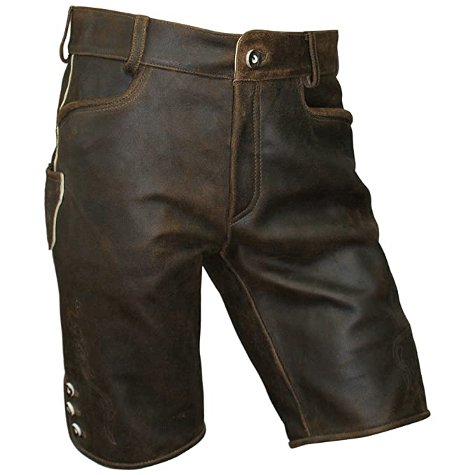 Lederhose kurz braun speckig Antik-Patina Trachten Leder Hose Trachtenlederhose Reißverschluß Zipp Hornknöpfe weiches Wildboc