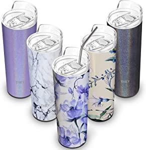 Stainless Steel Insulated Tumbler Cup - THILY 22 oz Travel Cup with Lid and Straw, Spill-proof, Reusable, Stylish Slim Design, for Coffee, Juice, Beverage, Gifts for Women & Christmas 2020, Iridaceae