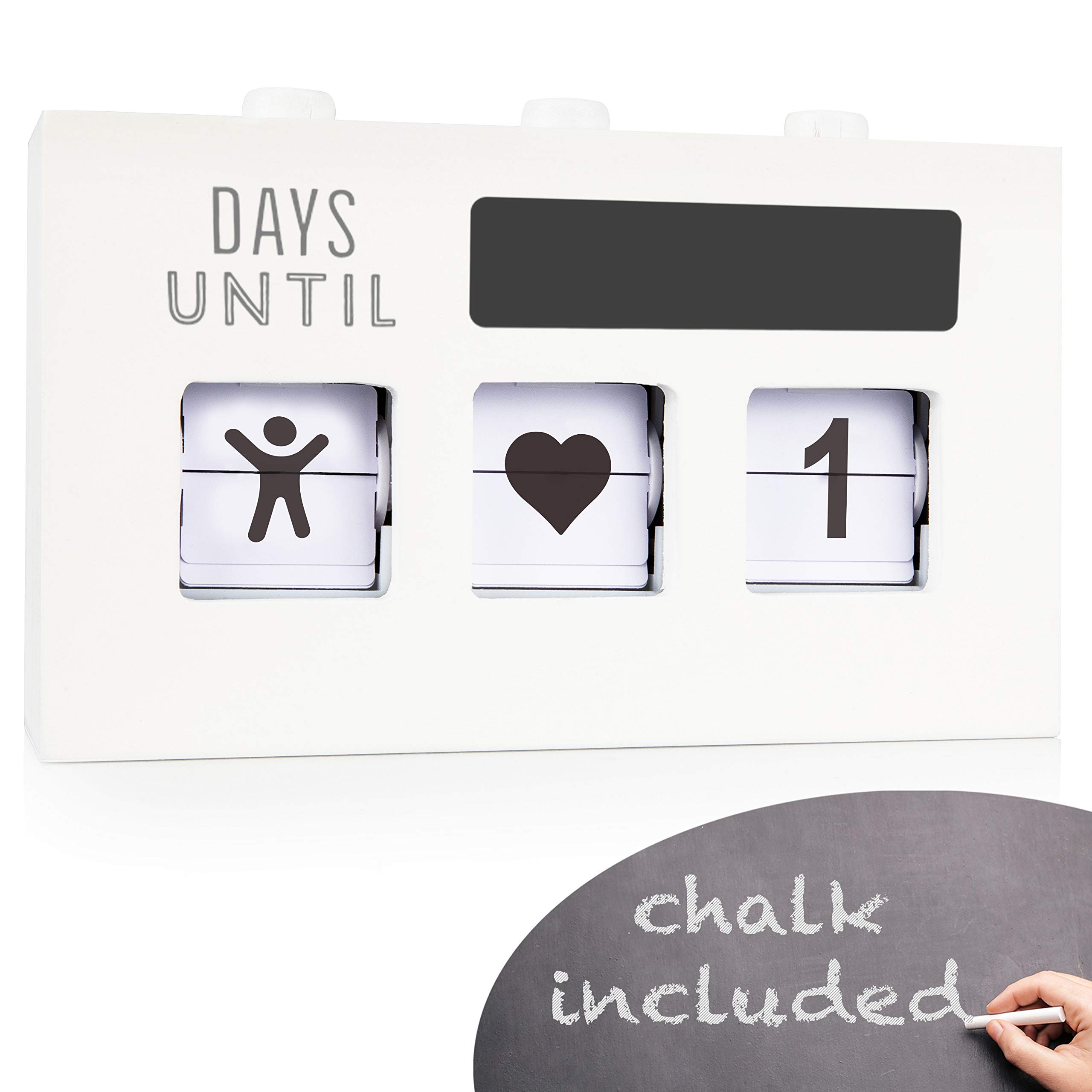 Wood Countdown Calendar Box: Handmade Wooden Box with 3 Changeable Viewing Windows to Show 0-999 Day Count Down Clock for Christmas, Wedding, Birthday, Kids Baby Age Blocks, Pregnancy, Baby Due Date by amehla