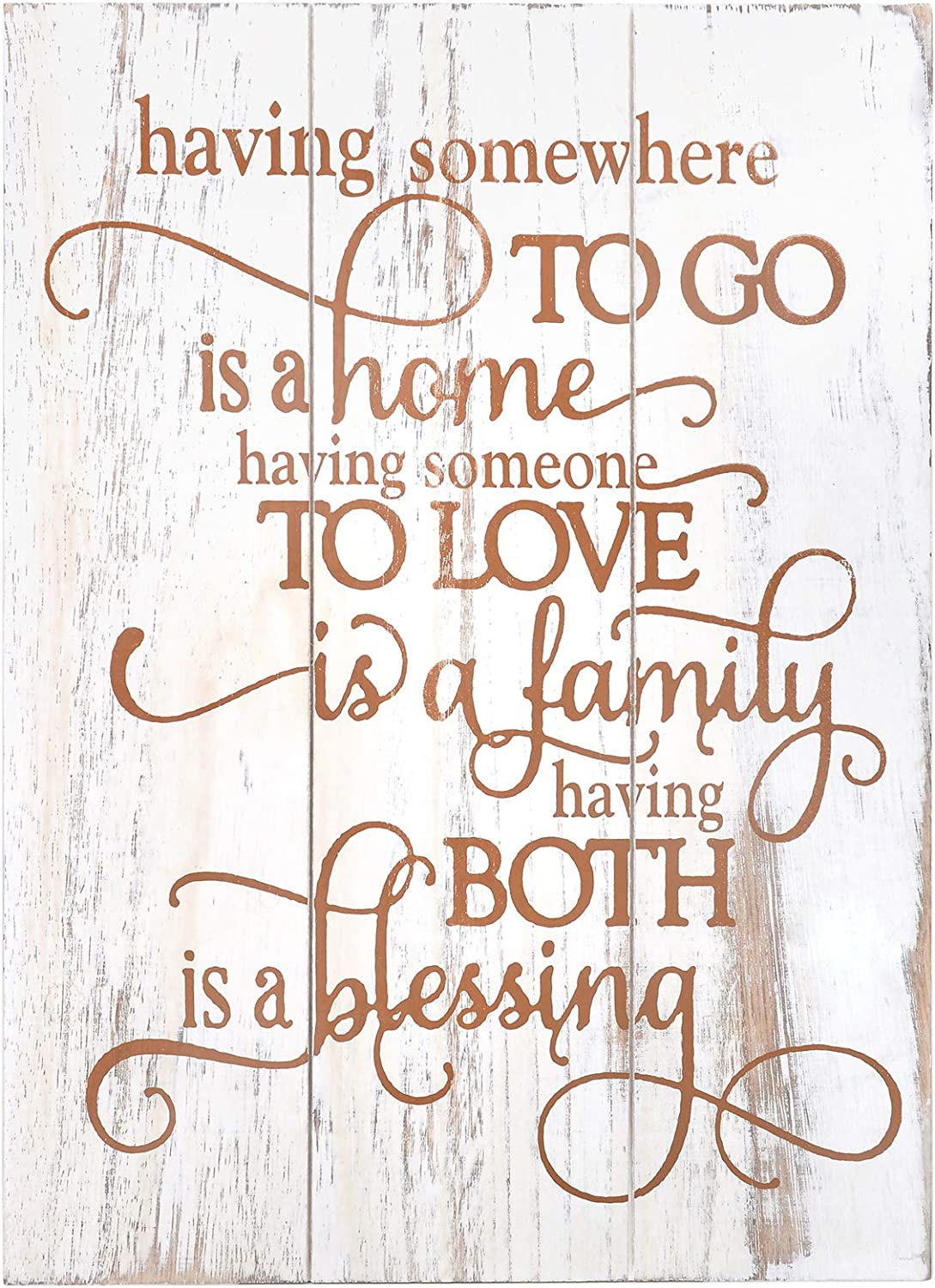 Soyo Hanging Wall Sign Rustic Wooden Wall Sign (Having Somewhere to Go is A Home Someone to Love is Family Both is A Blessing) Wood Wall Decoration for Home Decor