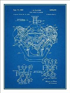 Amazon 1941 jeep military vehicle patent print art poster 1954 chrysler 426 hemi v8 engine patent print art poster unframed blueprint 18 malvernweather Image collections