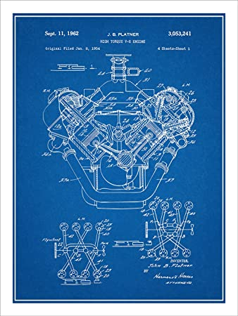 Amazon 1954 chrysler 426 hemi v8 engine patent print art 1954 chrysler 426 hemi v8 engine patent print art poster unframed blueprint 18quot malvernweather