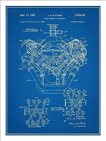 Amazon 1954 chrysler 426 hemi v8 engine patent print art poster 1954 chrysler 426 hemi v8 engine patent print art poster unframed blueprint 18quot malvernweather Images