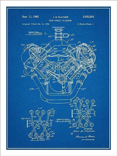 amazon com 1954 chrysler 426 hemi v8 engine patent print art poster rh amazon com Engine Block Blueprints Hemi Engine Parts