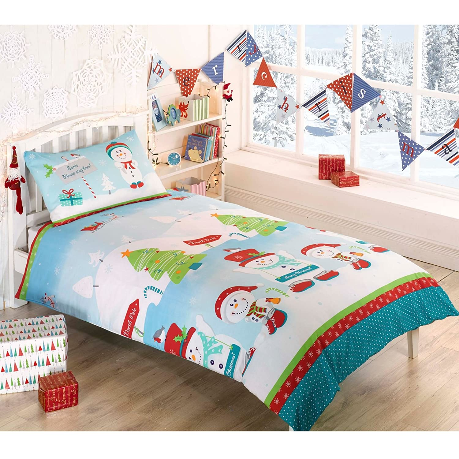 Snowman Christmas Single Duvet Cover and Pillowcase Set