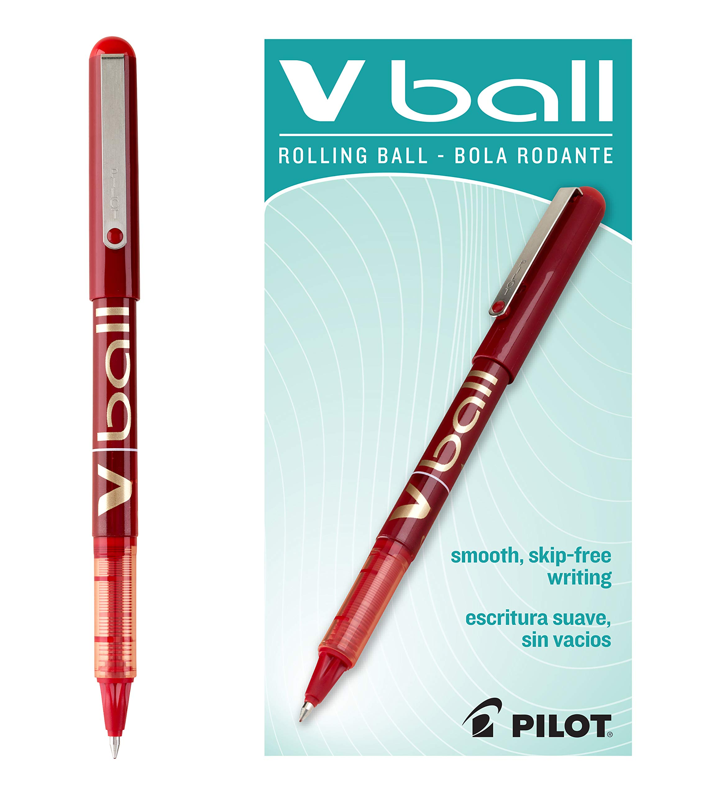 Pilot VBall Liquid Ink Roller Ball Stick Pen tinta roja 7 mm