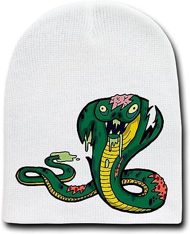 Amazon Com Zombie King Cobra Snake Funny Animal Zombie Cartoon White Beanie Skull Cap Hat Clothing