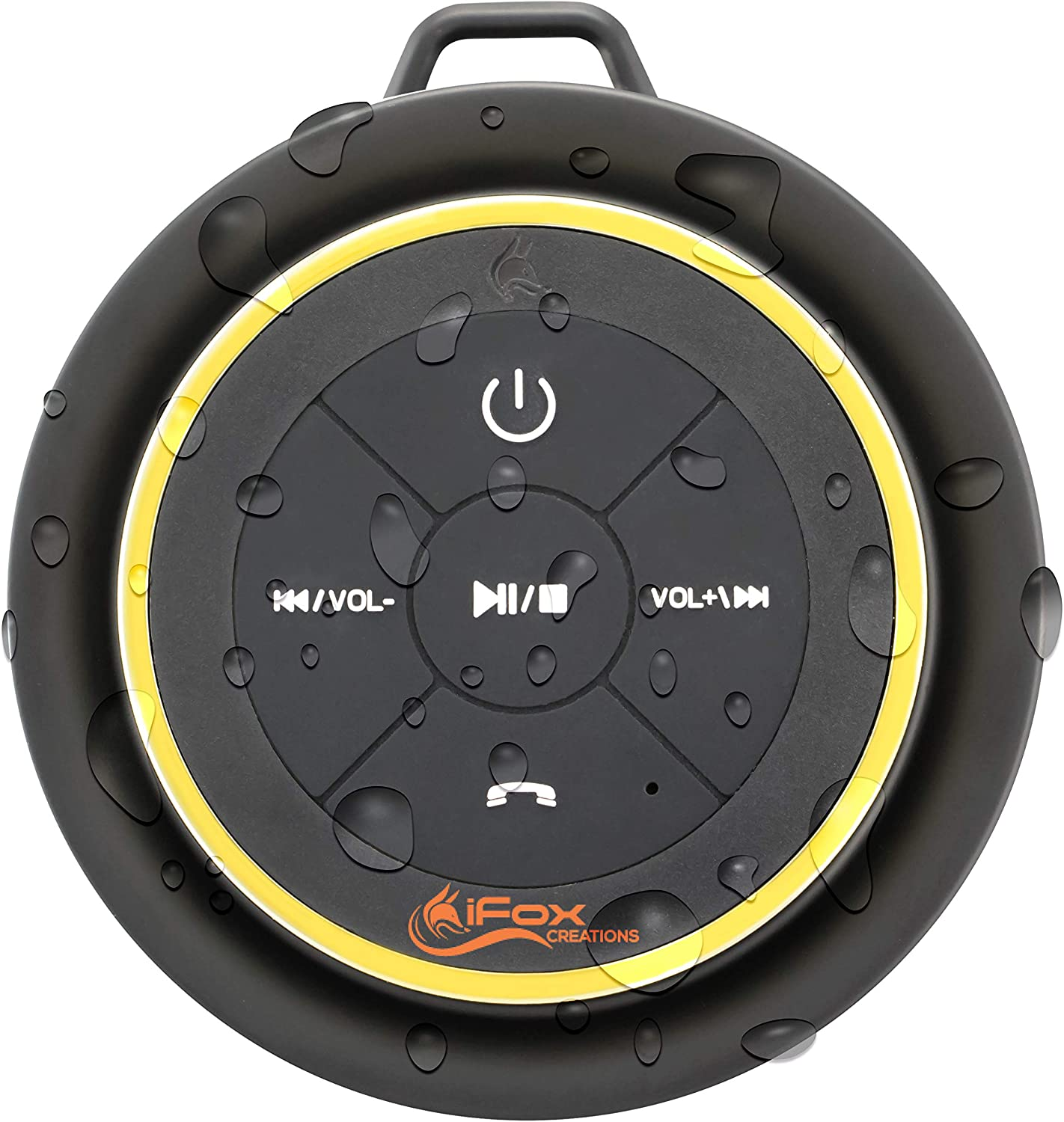 Image of a bluetooth shower speaker in colors black and yellow, navigation buttons facing front.