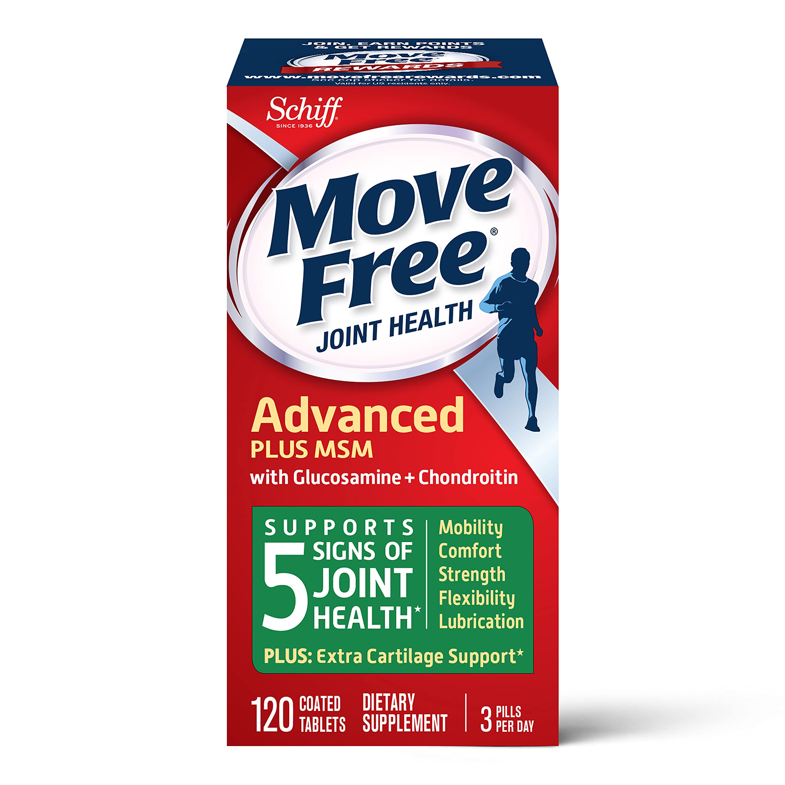 Move Free MSM 1500mg (per serving) With Glucosamine and Chondroitin - Advanced Joint Support Tablets (120 count in a box), Supports Mobility Flexibility Strength Lubrication and Comfort, Cartilage