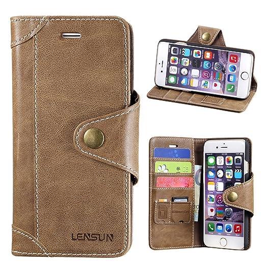 35 opinioni per Cover iPhone 6 / 6S, Lensun in Vera Pelle Cuoio Custodia Genuino Annata a