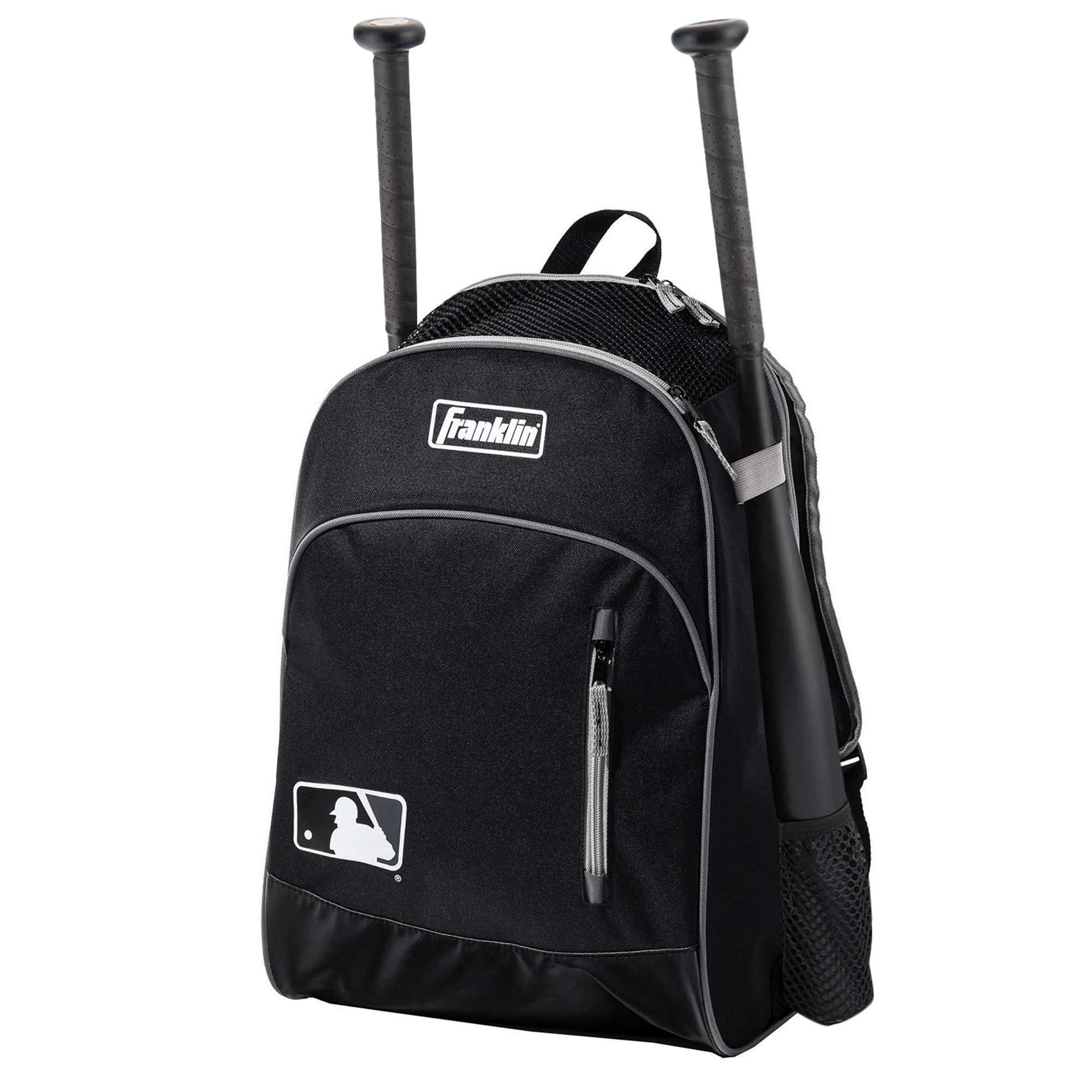 Franklin Sports MLB Batpack Bag - Perfect for Baseball, Softball, & T-Ball - Black/Gray