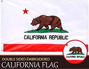 G128 – California State Flag | 3x5 feet | Double Sided Embroidered 210D – Indoor/Outdoor, Brass Grommets, Heavy Duty Polyester, 3-ply