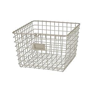 Spectrum Diversified Wire, Vintage Locker Basket Style, Rustic Farmhouse Chic Steel Storage for Closets, Pantry, Kitchen, Garage, Bathroom & More, Medium, Pack of 1, Satin Nickel