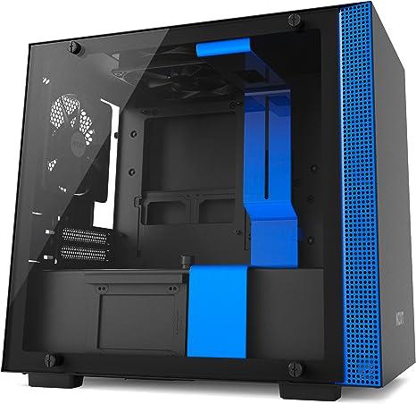 NZXT H200 - Caja de PC Gaming Mini-ITX - Panel de vidrio templado - Preparada para refrigeración líquida - Negro/Azul - Versión 2018: Amazon.es: Informática